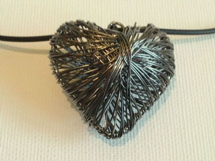 Black wire mesh heart necklace
